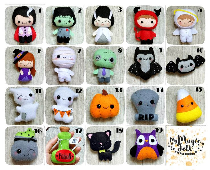 Halloween ornaments SET of 15 cute Halloween by MyMagicFelt