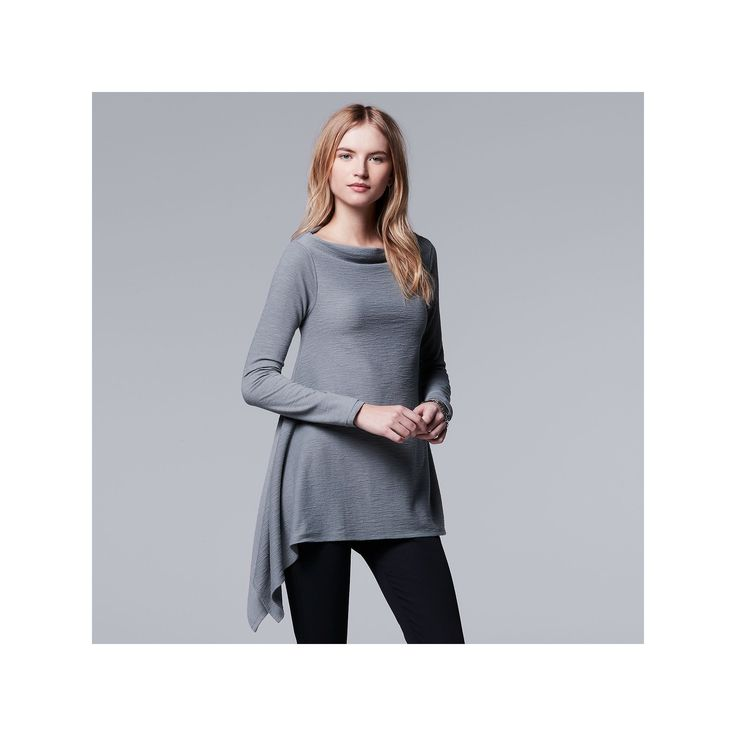 Women's Simply Vera Vera Wang Simply Separates Asymmetrical Top, Size: Medium, Med Grey