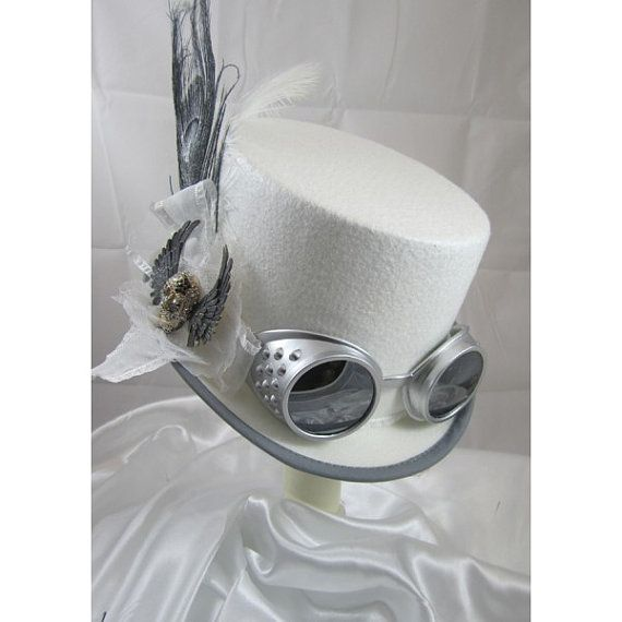 STEAMPUNK TOP HATS, Steampunk Shop,  Steampunk Emporium, White, Gun Metal, Goggles, Feathers
