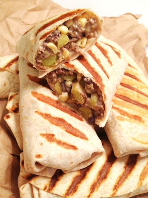 Healthy Stuffed Burritos w/ Beef, Corn, Black Beans & Potatoes 1 lb 93% lean ground sirloin, cooked with half a packet of taco seasoning  3 small-medium golden potatoes, diced and cooked until fork tender  2 Laughing Cow light Swiss cheese wedges  1 cup shredded Mexican blend cheese  Big burrito tortillas with 90 calories a piece or less  Optional-black bean and corn mixture  Fat free sour cream