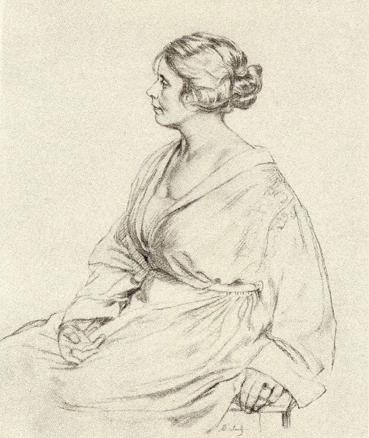 "Max Švabinský: ""Portrait of the woman in the AV profile"". Pencil, 39x29,2 cm 1922"