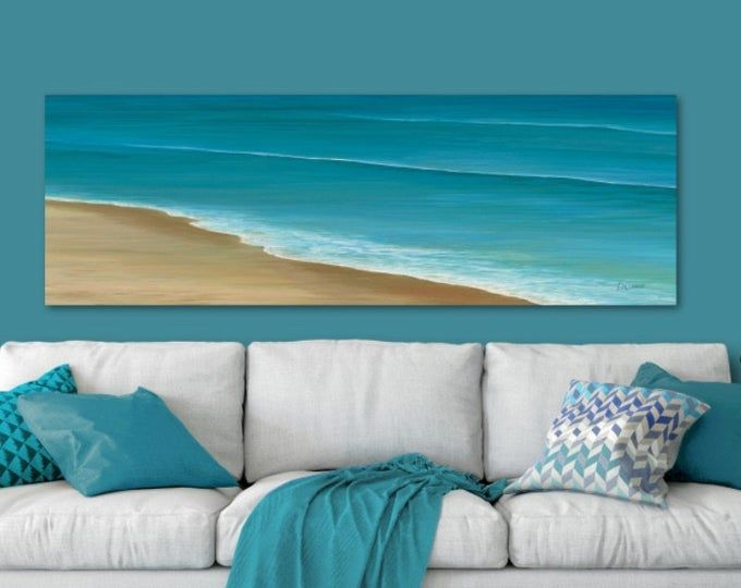 Blue & gray abstract painting, Panoramic prints – Canvas wall art over bed, Decor above couch, Dining room wall decor, Living room pictures