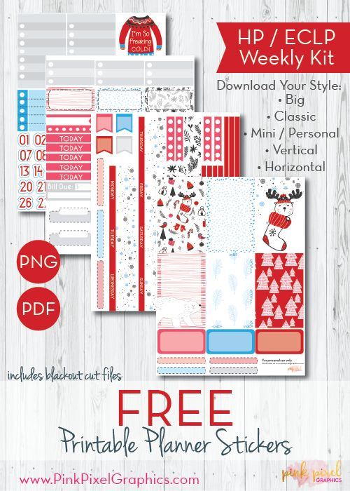 Free Printable A Beary Good Christmas Planner Stickers {subscription required}. See more at www.pinkpixelgraphics.com