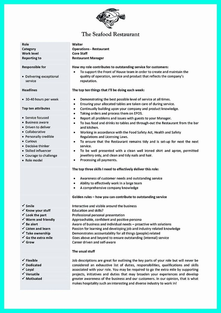 20 Server Job Description Resume Job description, Server