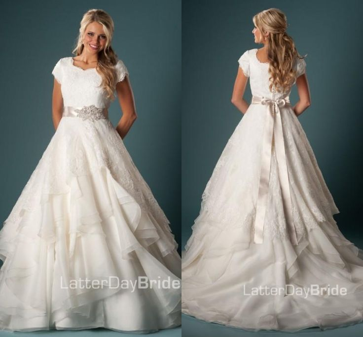 2016 Women Modest Wedding Gown With Sleeves Ball Gown Ruffles Organza Lace With Sash Temple Wedding Dresses With Cap Sleeves Vestido De Noiv Wedding Dress With Pockets Wedding Dresse From Helen_fontaine, $353.79| Dhgate.Com