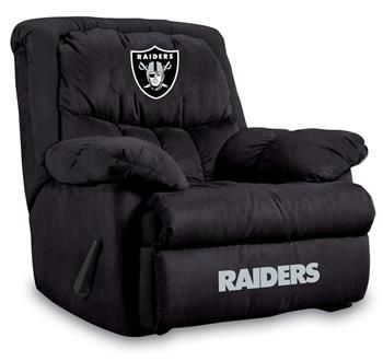 Oakland Raiders Home Team Recliner at www.SportsFansPlus.com. My hubbys nexts b-day present