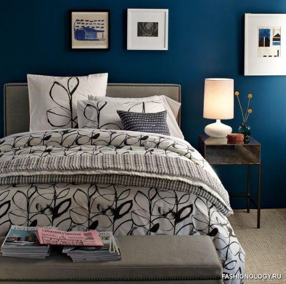 Модный дизайн интерьера спальни в темно-синем цвете | Мода осень-зима 2014-2015 весна-лето 2015
