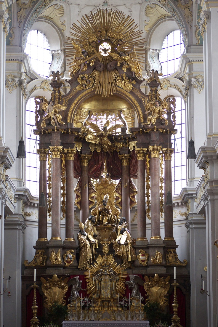 High Altar of Peterskirche (Saint Peter's church), Munich, Germany, one of the many masterpieces of the brothers Asam (Cosmas Damian and Egid Quirin were two of the luminaries of the German Baroque).