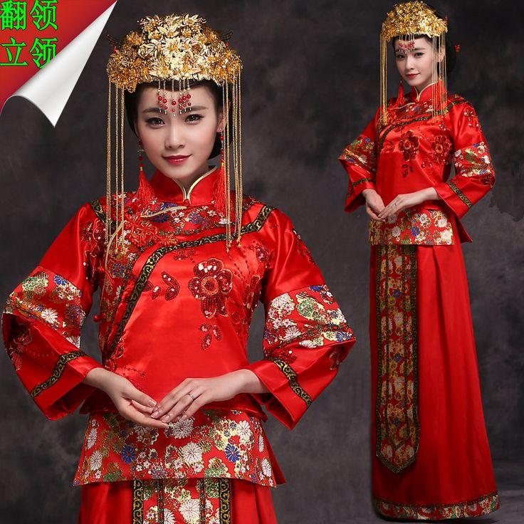 秀禾服新娘礼服红色中式复古敬酒服嫁衣结婚旗袍秀和服龙凤褂-淘宝网
