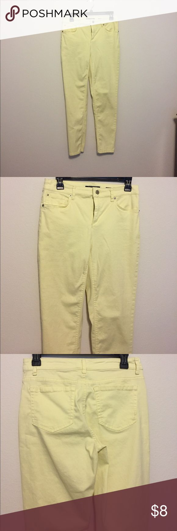 Mellow Yellow Skinny Pants Team with a light denim shirt or a fitted white tee. If yellow is a part of your wardrobe these are a must have. Super comfy and flattering fit. Jones New York Pants Skinny