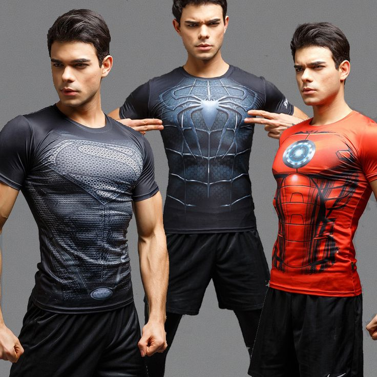 2016Gym Compression Shirt Superman Captain America Punisher Iron man 3D Print T-Shirt Superhero Crossfit Mens Style FashionTops
