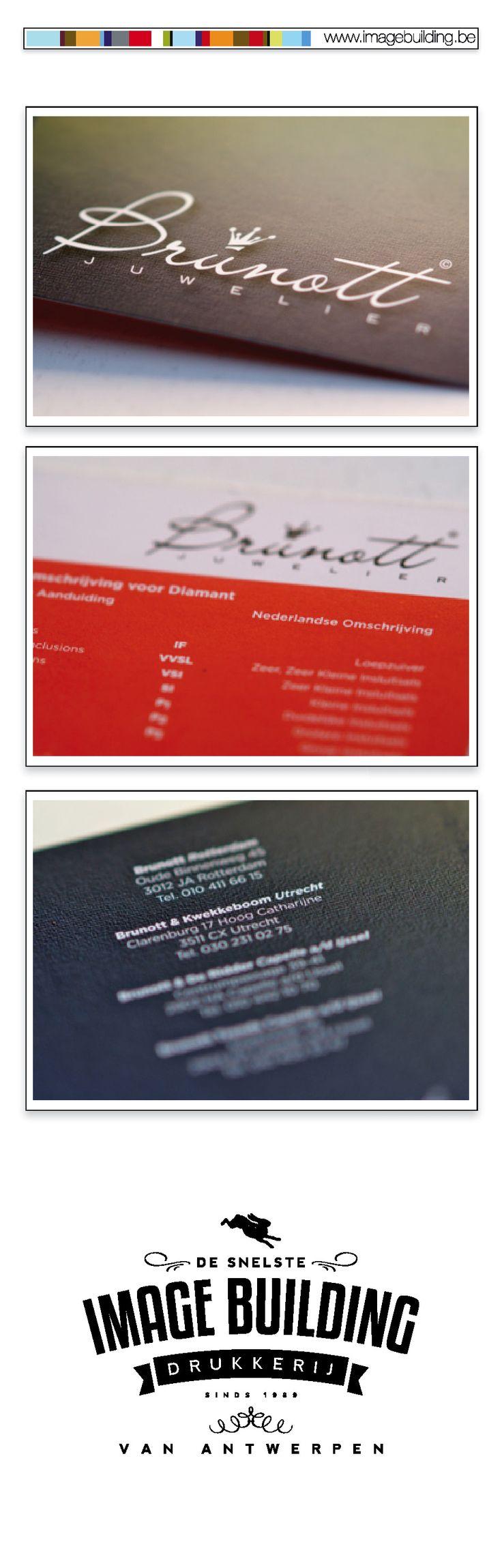 Logo, huisstijl ontwerp en drukwerk voor 'Brunott Juwelier'. Pancartes. Certificaten. Flyers. Rollupbanners. Bashes. Tshirts. visitekaartjes. #imagebuildingnv #desnelstedrukkerijvanantwerpen #huisstijl #graphicdesign #grafisch #ontwerp #opmaak #drukwerk