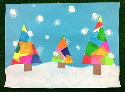 the teacher wife: coloured winter trees. tissue paper glued onto white card stock. cut into triangle shapes and glued onto prepared background.