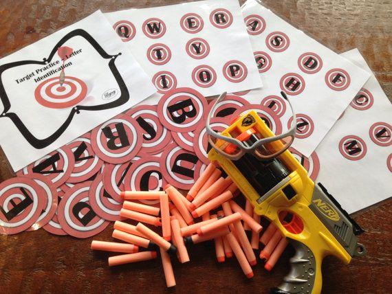 PRINTABLE Nerf Target Practice -Letter Identification (Toddler Preschool Kindergarten child learning educational practice Nerf fun ABC game)