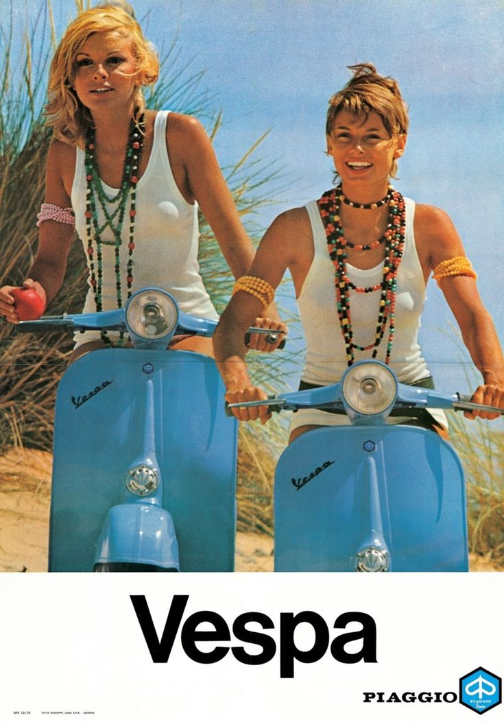 1960s Vespa advertisement. Did hippies EVER ride scooters? ha.