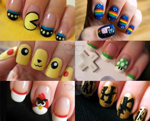 Pacman - Nyan Cat - Pikachu - 1 Up Mushroom - Angry Birds -And Harry Potter  Nails Are Very Cute For Whatever Style You Like. - 36 Best Nail Art Ideas Images On Pinterest Nail Designs, Make Up