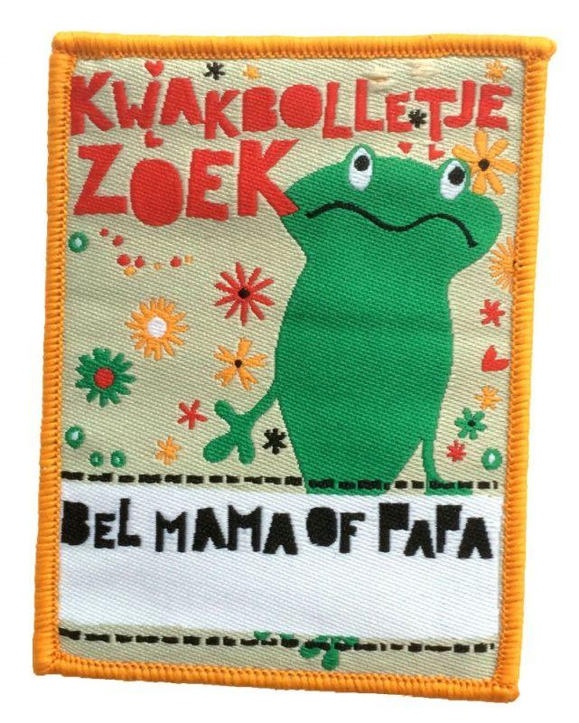 KWAKBOLLETJE ZOEK! Een kinderkiel embleem met ruimte voor telefoonnummer. http://shop.hedenbosch.nl/a-39142414