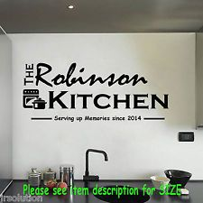 Your Family Name Your Kitchen Wall Stickers Quote Wall removable Decals Decor