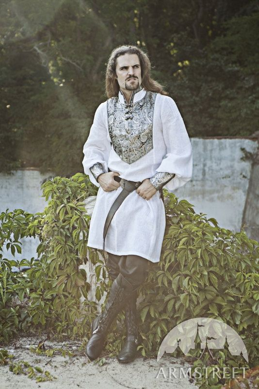 Wedding Medieval Mens Tunic with Brocade Accents by armstreet, $124.00