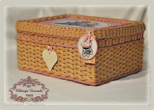 Поделка изделие Декупаж Плетение Шкатулка для малыша Бумага Бумага газетная Трубочки бумажные фото 1