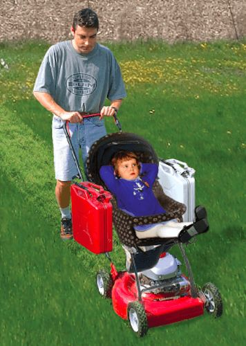 STROLLER MOWER — SkyMaul Don't let family get in the way of yardwork! Our combo stroller/mower is 24hp, safe, cozy, and legal. Strap the kid in and mow down any lawn, any yard, any thing. Teaches kids about motors, grass, responsibility, etc ... - See more at: http://www.skymaul.com/#sthash.4r8jigTw.dpuf