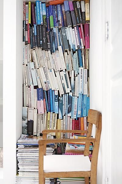 If your bookshelves are full, this might be the best solution.