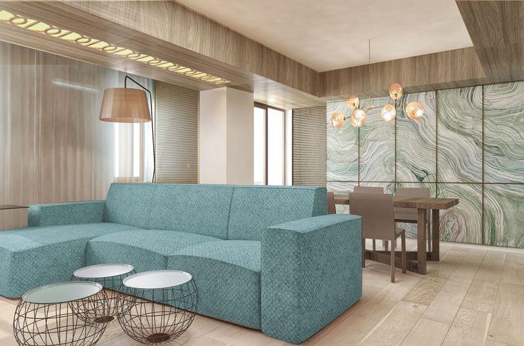 #foamseagreen #sofa #livingoom #ambientallight #ceilinglamps #wood #naturalsienna #beige #white