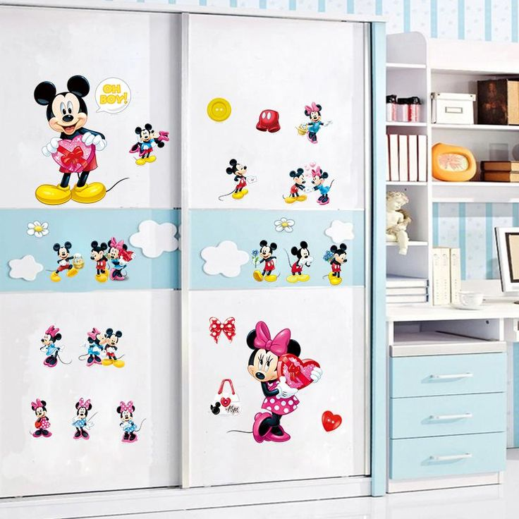 Minnie Mickey mouse wall art decals kids gift home decorative stickers diy cartoon animal  nursery boys bedroom stickers #Affiliate