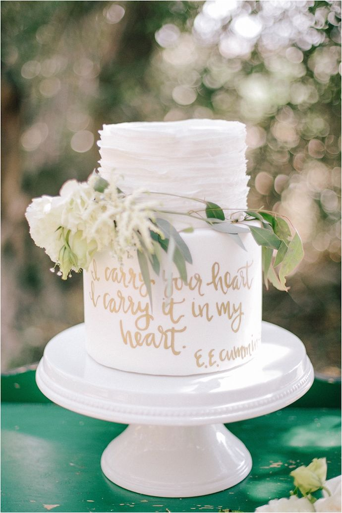 Obsessed with this beautiful cake and gold writing and quote.