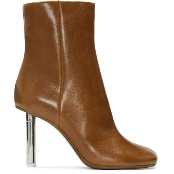 Vetements Brown Leather Ankle Boots (€1.715) ❤ liked on Polyvore featuring shoes, boots, ankle booties, brown booties, brown ankle booties, zip ankle boots, leather booties and brown boots