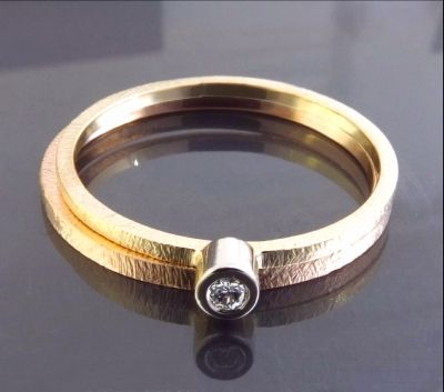 BIZOE komplet - pierścionek z brylantem i obrączka http://www.gemstudio.pl/pl/c/Kolekcja-BIZOE/62