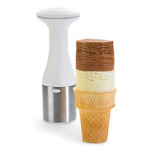 Ice Cream Scoop & Stack--just twist and lift to get that hard-to-scoop ice cream. With a simple release push button, presentation can be creative and fun! I NEED THIS!