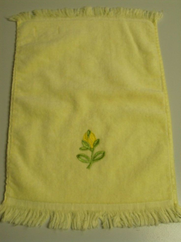 Vintage Yellow Hand Towel Yellow Rose Bud Applique Bathroom Fringe Cotton USA #Jackson