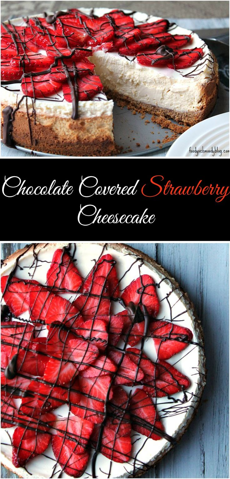 A super creamy and luscious cheesecake is topped with strawberries which are finished off with a hardened chocolate to give the taste of chocolate covered strawberries.  This cheesecake takes a bit of time to come together, but it's worth every second - I promise!  Make this Chocolate Covered Strawberry Cheesecake the showstopper for your next holiday dessert table!