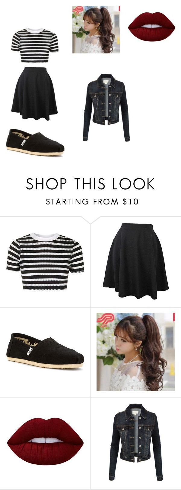 """""""Hello!"""" by raffaela-barth on Polyvore featuring Topshop, TOMS, Pin Show, Lime Crime and LE3NO"""