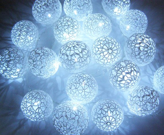 Holiday Lights, Party Lighting, Bedroom Decor lamps, Fairy Lights, String Lights, Lace Crocheted balls, garland light
