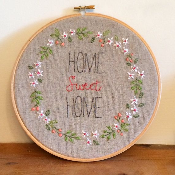 Home Sweet Home / Hoop Art / Embroidery / by LittleFlossStudio