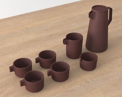 Stackable tea set by architect VW+BS is made of unglazed clay that's meant to soften the taste of whatever you drink from it.