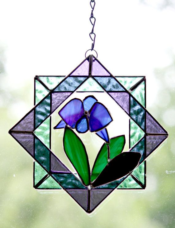 Stained Glass Suncatcher Blue Orchid  3d Quilt by GalaGardens, $23.50