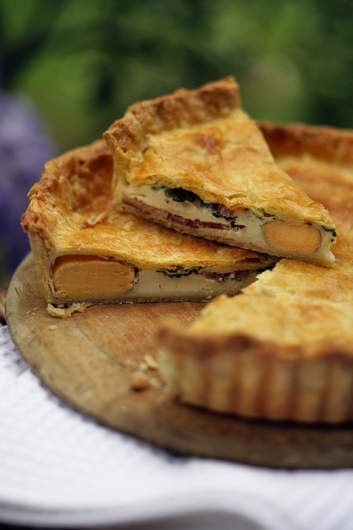 Stephanie Alexander's egg and bacon pie is firm enough to travel well and substantial enough to be the lunch centrepiece.