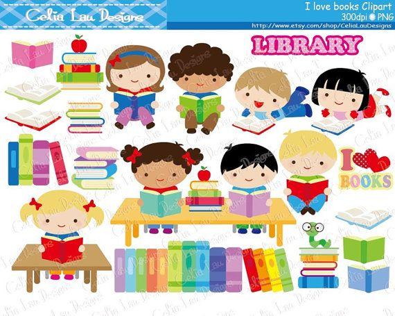 Niños amor lectura Clipart / amante del libro / libro imágenes prediseñadas / imágenes prediseñadas biblioteca /Back escuela suministros / libro gusano / instantánea descargar (CG166)