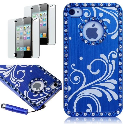 Apple iPhone case 4/4S 4G With 2 Pcs Screen Protector and Blue Stylus