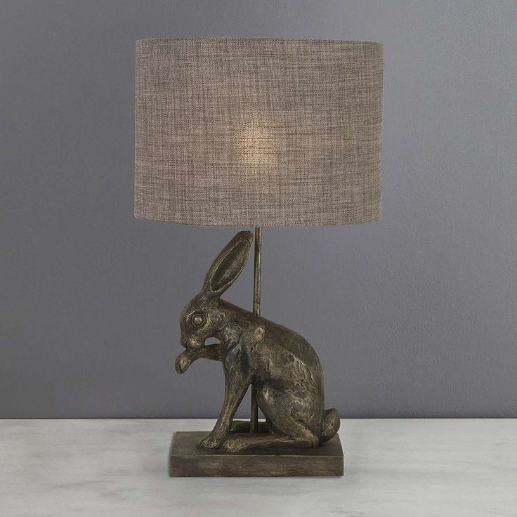 Hare Licking Paw Antique Brass Table Lamp | Dunelm