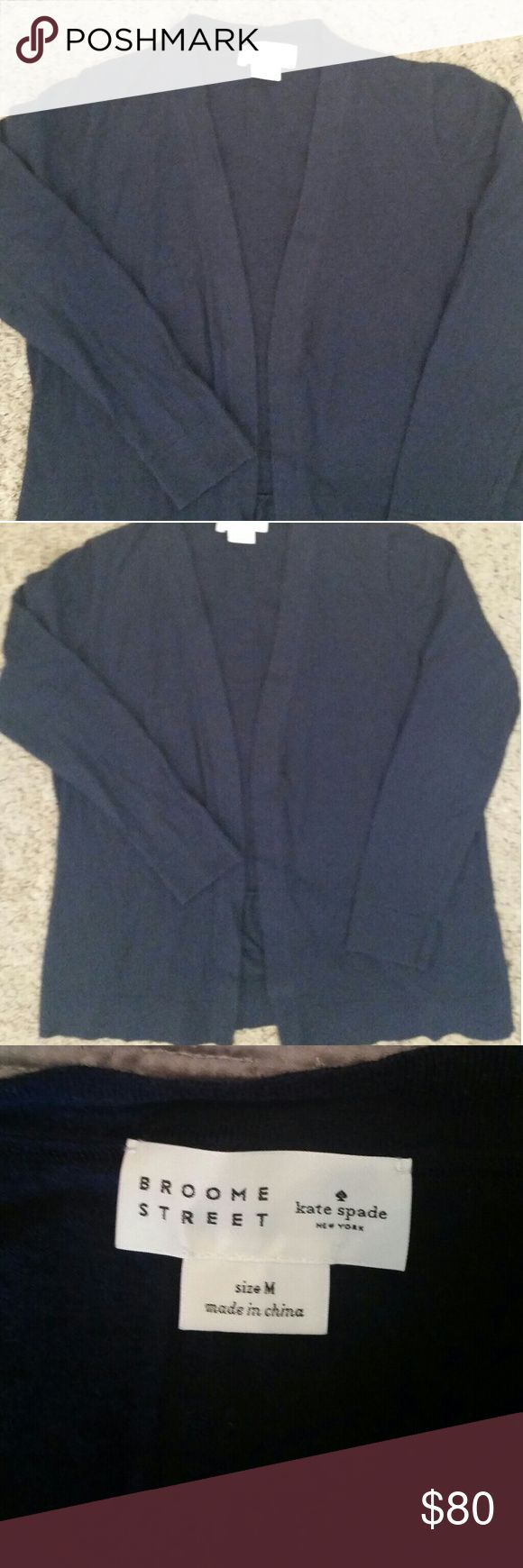 Kate Spade Open Cardigan Sweater Kate Spade New York Broome Street Open Cardigan Sweater. No buttons. Size Medium. Navy blue. Ruffle on the back bottom. Cotton-cashmere blend. Bought brand new from Trunk Club. Worn a handful of times. Still in good condition. kate spade Sweaters Cardigans