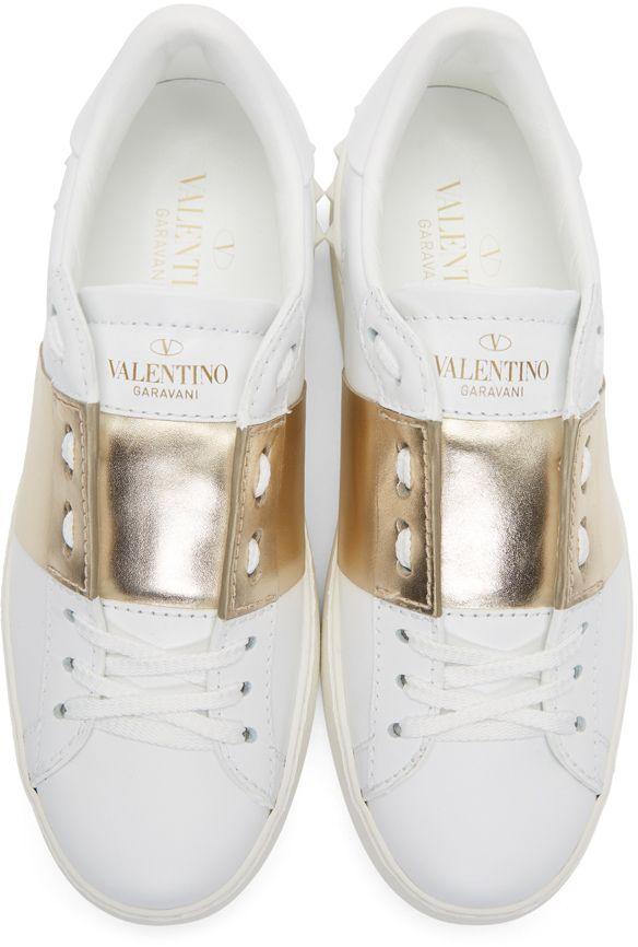 Valentino - White & Gold Valentino Garavani Metallic Open Sneakers