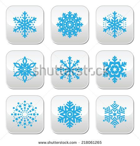 Snowflakes, winter blue vector buttons set  by RedKoala #Christmas