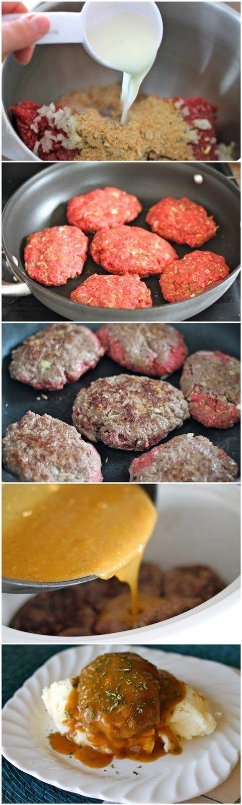 Slow Cooker Salisbury Steaks ~ Freshdreamer