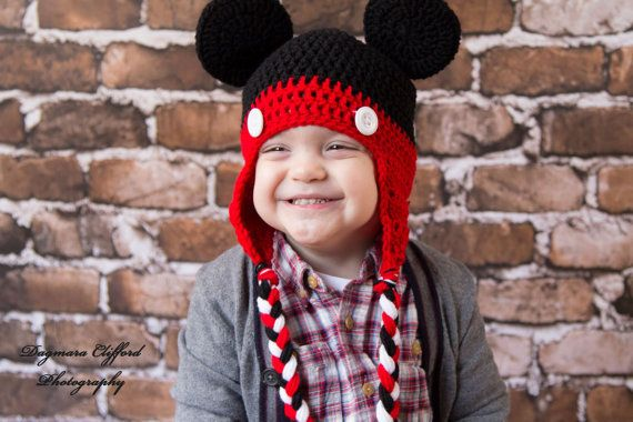 Crochet Hat Mickey Mouse Hat in Black and Red with by bitteroclock