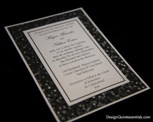 Black Pebble Embossed Paper on White in Classic Panel Wedding Invitation