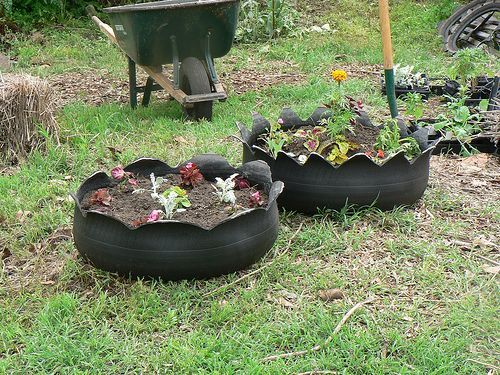 Ideas For Cheap Raised Beds Garden Tire Planters